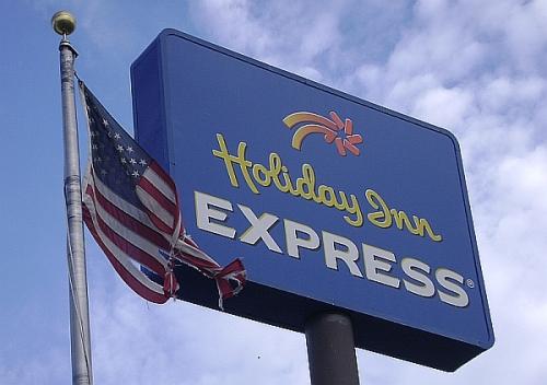 Flag outside Holiday Inn Express