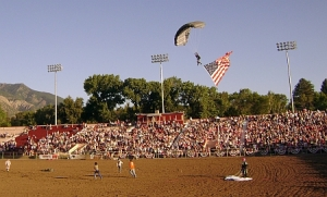 The American flag making a grand entrance at the Pioneer Days Rodeo, Ogden UT