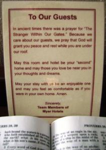The Stranger Within Our Gates prayer best western branson