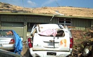 Chevy Suburban smashed by tornado