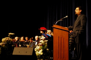 Marty M. Fahncke delivering keynote speech at Truman State University