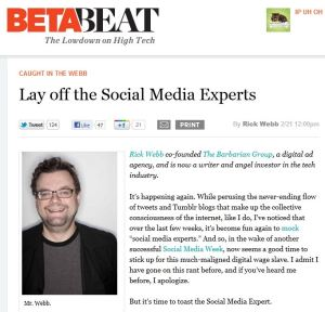 BetaBeat article about Social Media Experts by Rick Webb